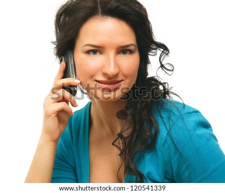 A smiling business woman is talking on mobile phone - on white background - stock photo