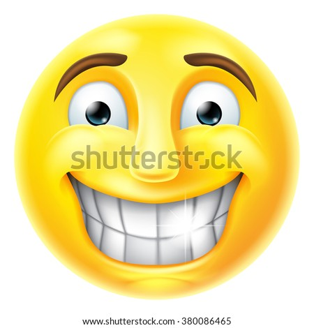 A smiling cartoon emoji emoticon smiley face character  - stock photo