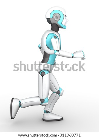 A smiling cartoon robot boy running. White background.