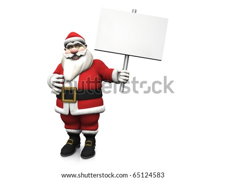 A smiling cartoon Santa Claus holding a blank sign in his hand. White background. - stock photo