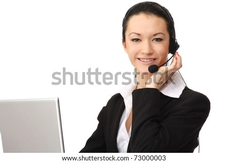 A smiling customer service operator - stock photo