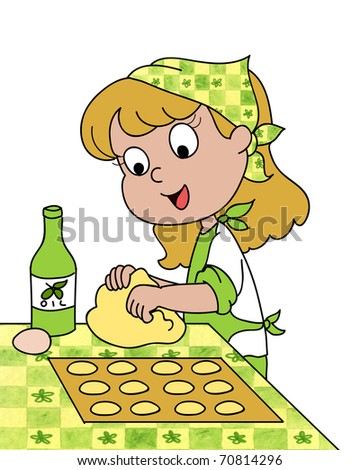 A smiling cute young girl is rolling out dough with olive oil and eggs. - stock photo