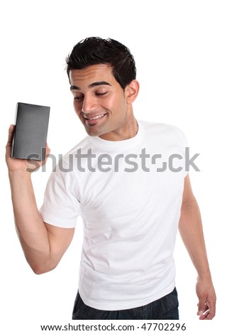 A smiling energetic man markets or sells a boxed product or merchandise - stock photo