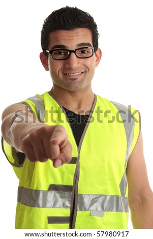 A smiling friendly builder, construction worker, or other tradesperson or labourer pointing his finger at you.  White background. - stock photo