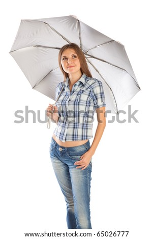 a smiling girl is standing under the umbrella. isolated on white background