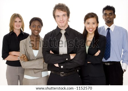 A smiling group of business men and women - stock photo