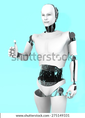 A smiling male robot doing a thumbs up with his hand. Bluish background.