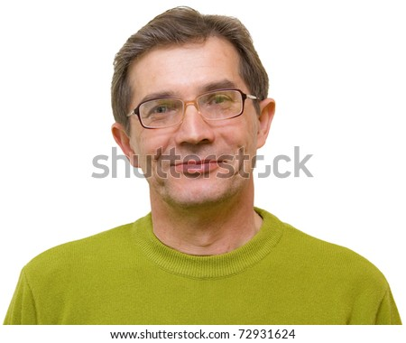 A smiling man on a white background in a green jacket - stock photo
