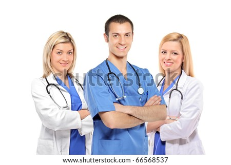 A smiling medical doctors with stethoscopes isolated on white background - stock photo