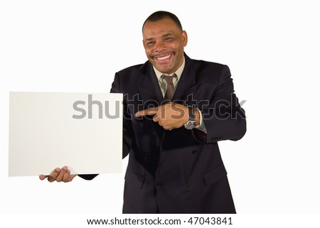 a smiling senior African-American businessman pointing at a picture board with copy space, isolated on white background - stock photo