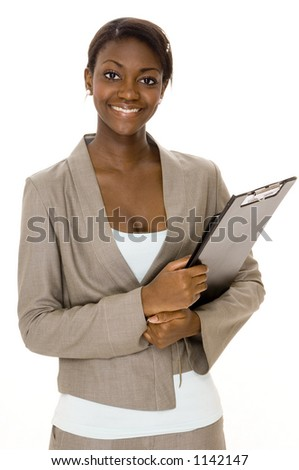 A smiling young black businesswoman on white background - stock photo