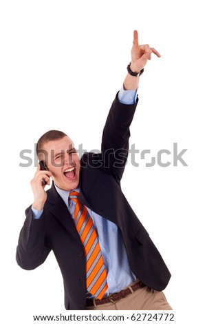 a smiling young business man discussing on a cell phone, isolated on white background