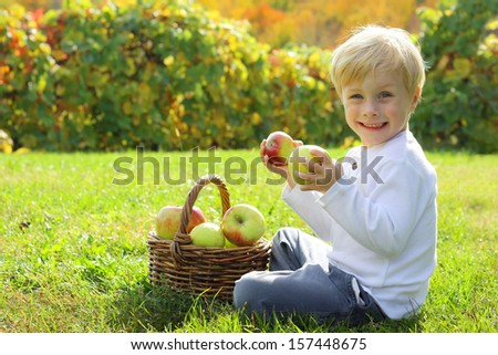 a smiling young child is holding two pieces of fruit in his hands as he sits in the grass at an apple orchard on a beautiful sunny autumn day - stock photo