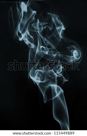 A smoke isolated on a black background
