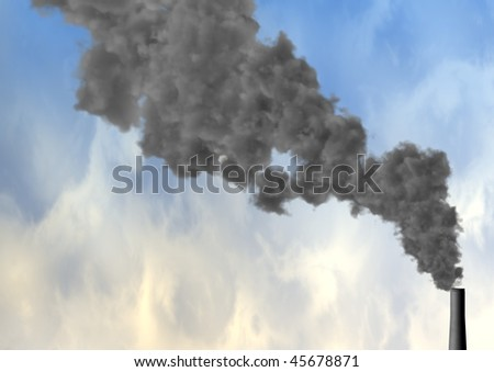 A smoking chimney looking very toxix in the sky