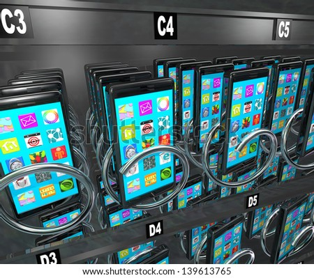A snack or vending machine full of smart phones or cellphones to illustrate shopping for and buying a new telephone with a contract at a store or market - stock photo