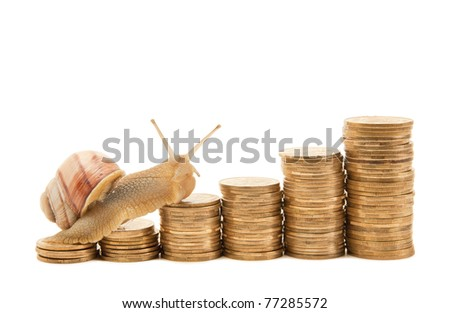 A snail crawling on a schedule of coins isolated on white background