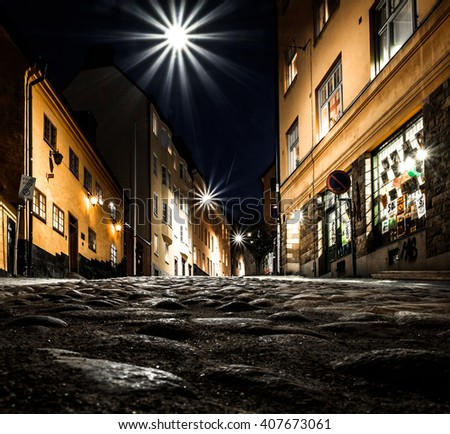 A snail view of an old street in Stockholm, Sweden - stock photo