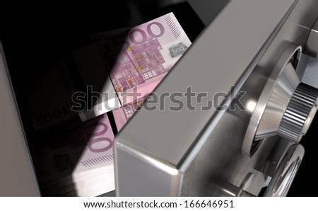 A sneak peak closeup of a slightly open metal safe revealing bundles of euro notes inside of it - stock photo