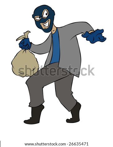 A sneaky cartoon thief making off with some loot. - stock photo