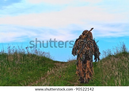 a sniper is leaving on a mission - stock photo