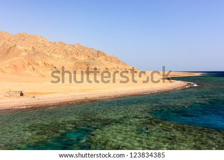 A snorkeller over a remote coral reef in the Red Sea next to the Egyptian desert shoreline - stock photo