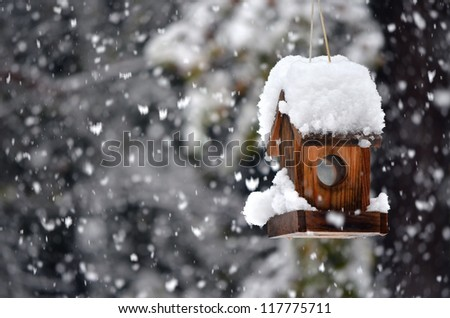 A snow covered bird house in winter with snowflakes falling down. - stock photo