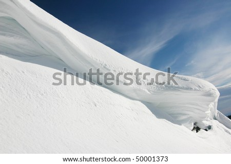 A snow mountain peak detail view. - stock photo