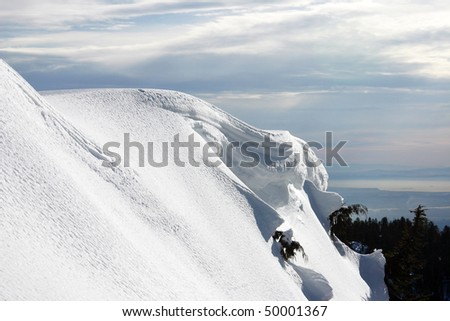 A Snow mountain peak view. - stock photo