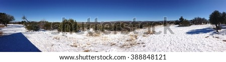 a snow Panorama of the desert in Arizona - stock photo