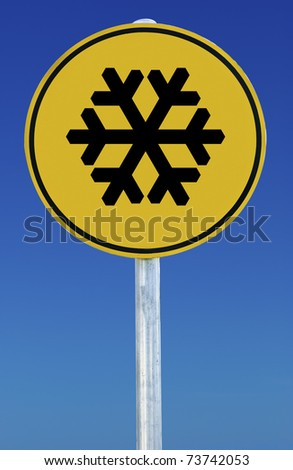 A snow sign isolated on a blue graduated sky. - stock photo
