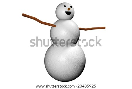 A snowman 3d render isolated on white