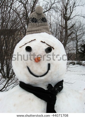 A Snowman in the Heart of winter. - stock photo