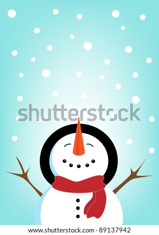A Snowman  on a blue snowflake background - stock photo