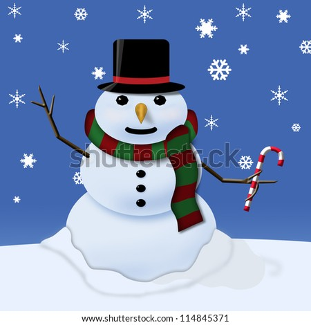 A snowman waving and holding a candy cane in a snowstorm