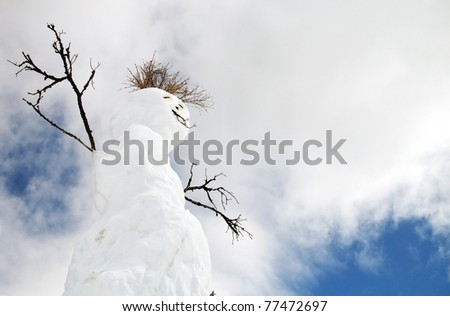 A snowman with stick arms and grassy hair and against a cloudy background