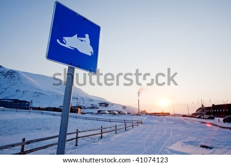 A snowmobile sign in Longyearbyen, Svalbard, Norway - stock photo