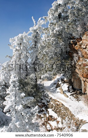 A snowy trail leads around the side of the Sandia Mountains just after the first snow of winter - vertical orientation - stock photo