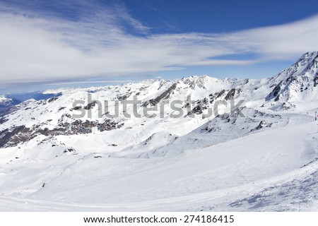 A snowy winter landscape on a ski resort in the Alps.