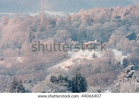 A snowy winter landscape with a number of snow topped trees and a ruined chapel. - stock photo