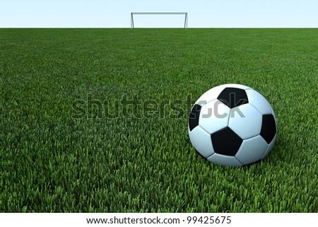 a soccer ball, a football on green grass field - stock photo