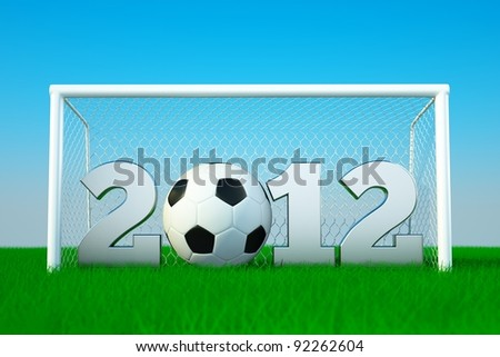 a 2012 soccer competition concept, ball with digits on green grass - stock photo