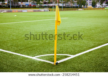 A soccer field viewed from the corner without peoples. - stock photo