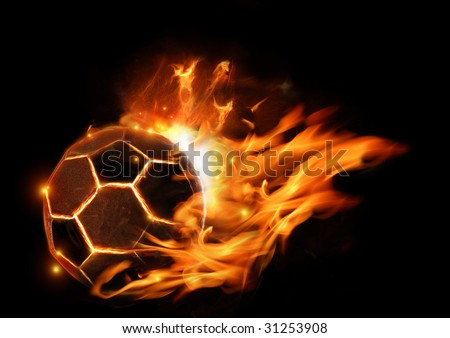 A soccer football in flames. - stock photo