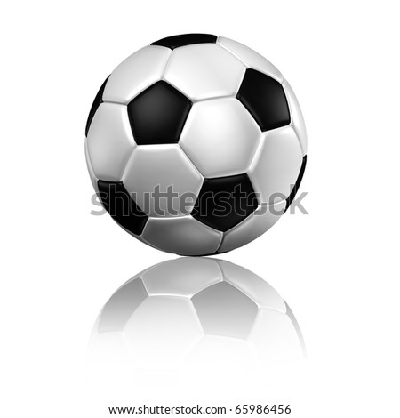 a soccer football with reflection on a white background - stock photo