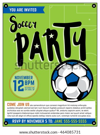 A soccer party theme invitation template.