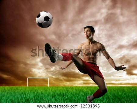 a soccer player in the stadium - stock photo
