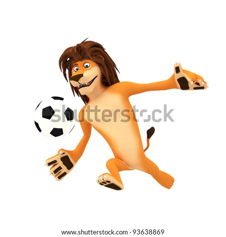 A soccer playing lion ready to kick the ball - stock photo