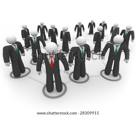 A social network of business people in suits and ties - stock photo