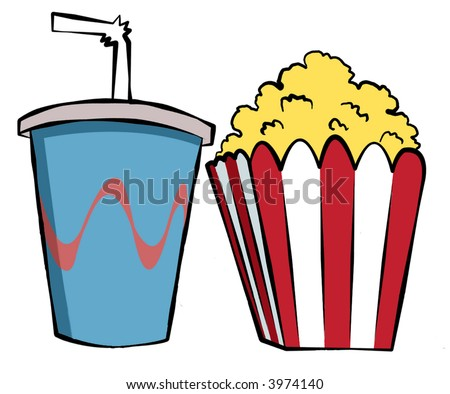 A soda and a popcorn for the measly sum of $15! - stock photo